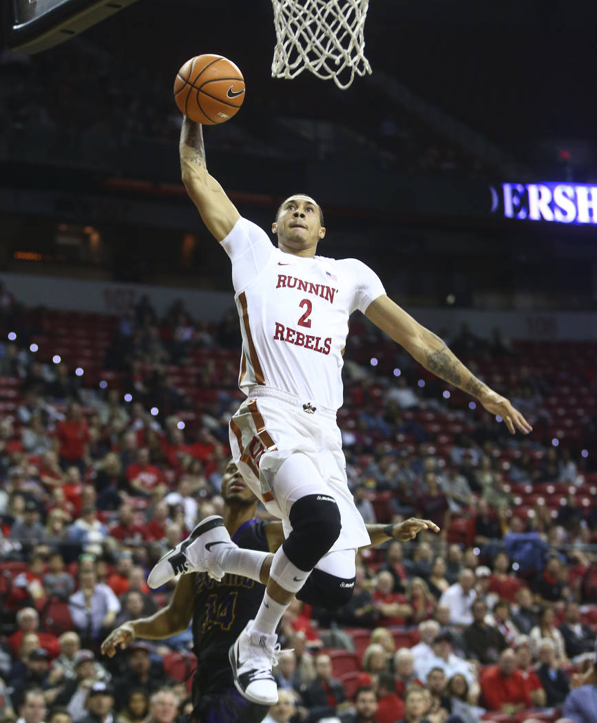 UNLV's Anthony Smith (2) dunks against Prairie View A&M during their basketball game at Thomas & Mack Center in Las Vegas on Wednesday, Nov. 15, 2017. Chase Stevens Las Vegas Review-Journa ...