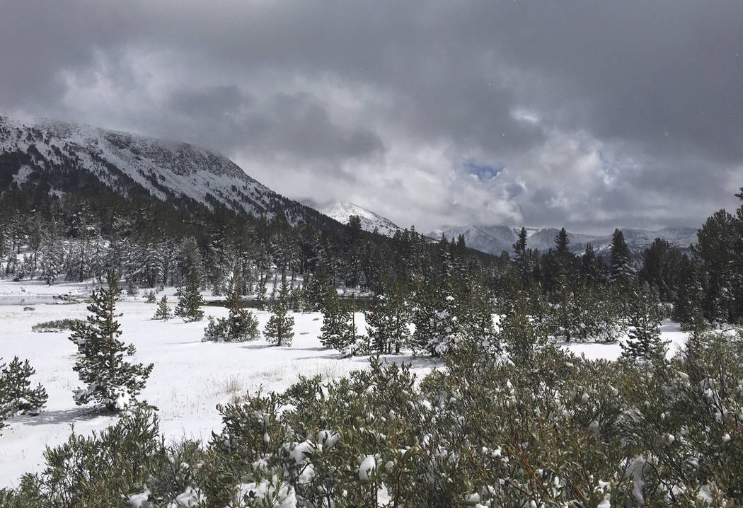 Snow is seen in the Sierra Nevada mountain range in this file photo. (AP photo/Anna Johnson)