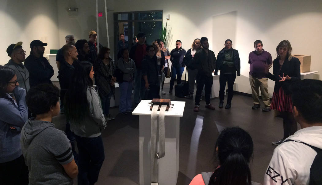 """San Diego artist Margaret Noble talks about her exhibition """"Resonating Sounds"""" during reception in the fine arts gallery on Nov. 9, 2017 at CSN's North Las Vegas campus, 3200 E. Cheyenne Ave. (Cou ..."""