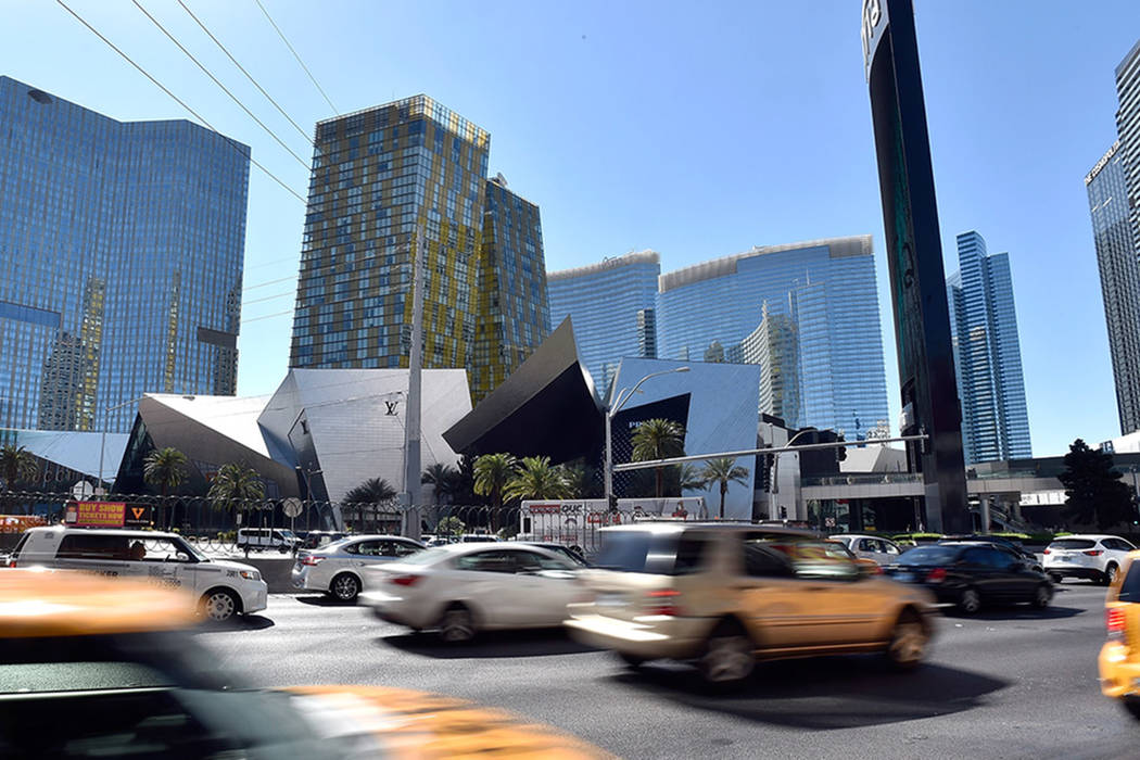 Vehicle traffic passes by the Shops at Crystals at CityCenter is seen Friday, March 18, 2016, in Las Vegas. (Las Vegas Review-Journal)