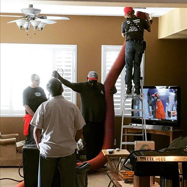 The staff of Blue Diamond Air Solutions prepares for a residential air duct cleaning. (Blue Diamond Air Solutions Instagram)