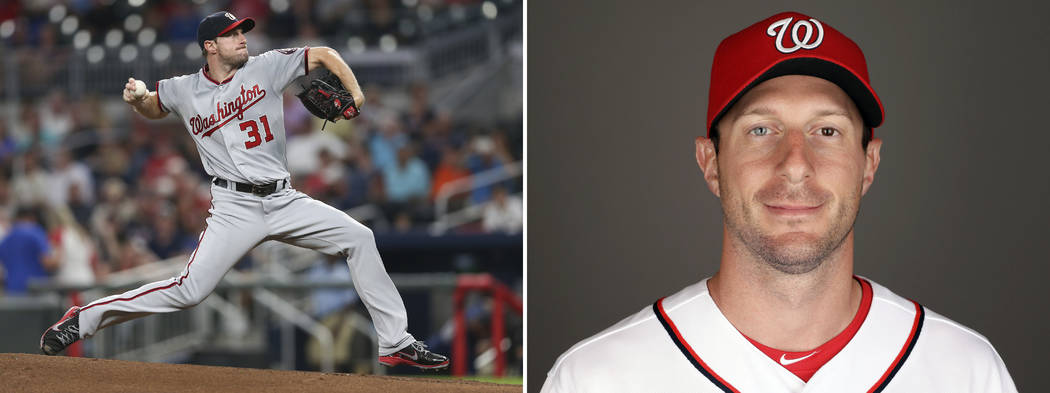 At left is a Sept. 19, 2017, file photo showing Washington Nationals pitcher Max Scherzer working against the Atlanta Braves in the first inning of a baseball game in Atlanta. At right is Scherzer ...