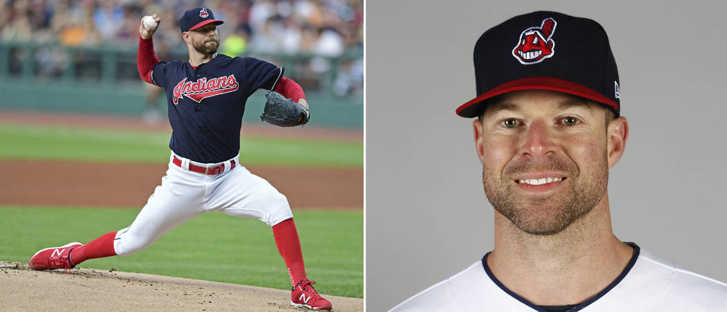 At left, in a July 9, 2017, file photo, Cleveland Indians pitcher Corey Kluber delivers in the first inning of a baseball game against the Detroit Tigers in Cleveland. At right is a 2017 file phot ...