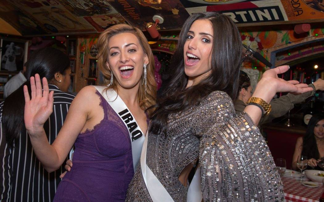 Miss Iraq Sarah Idan and Miss Egypt Farah Shaaban. (Tom Donoghue)