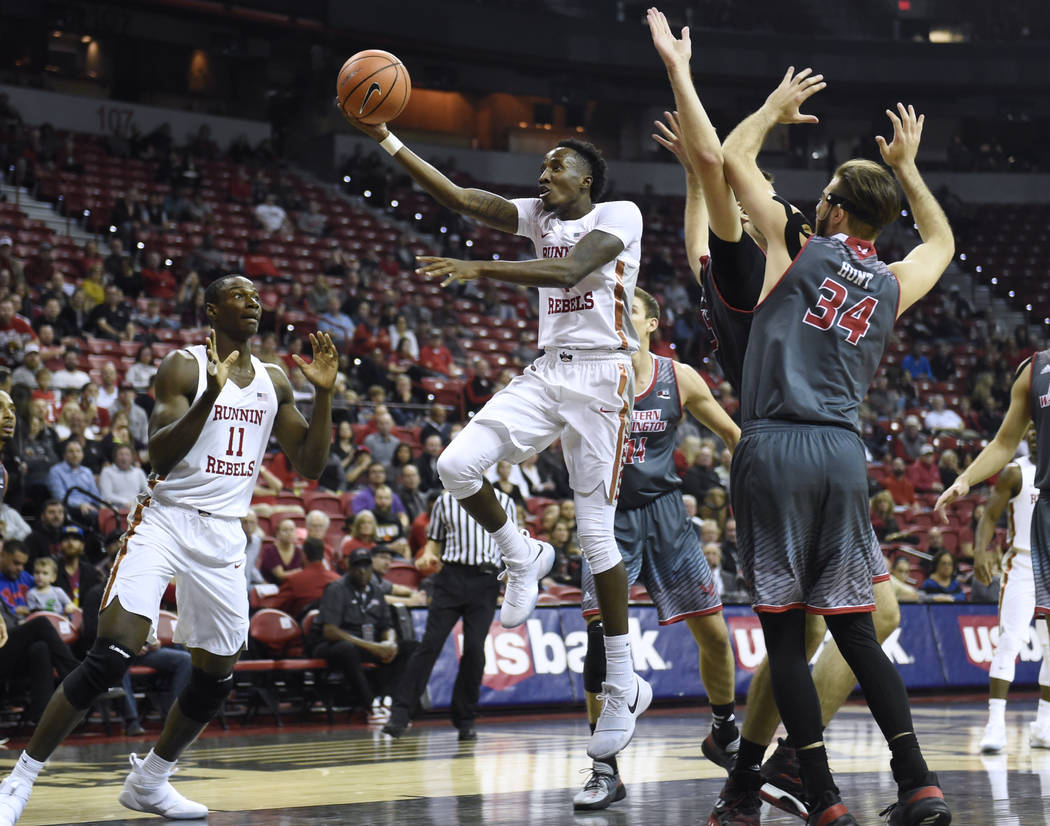 UNLV Rebels guard Kris Clyburn (1) drives to the basket against the Eastern Washington Eagles during their game Friday, November 17, 2017, at the Thomas & Mack Center. UNLV won the game 91-76. ...