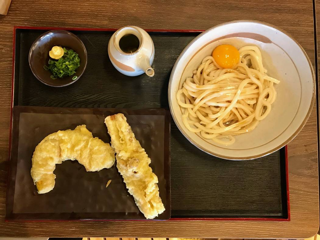 Tempura and kamatama udon at Cafe Sanuki noodle bar in Las Vegas, Wednesday, Nov. 15, 2017. Madelyn Reese View @MadelynGReese