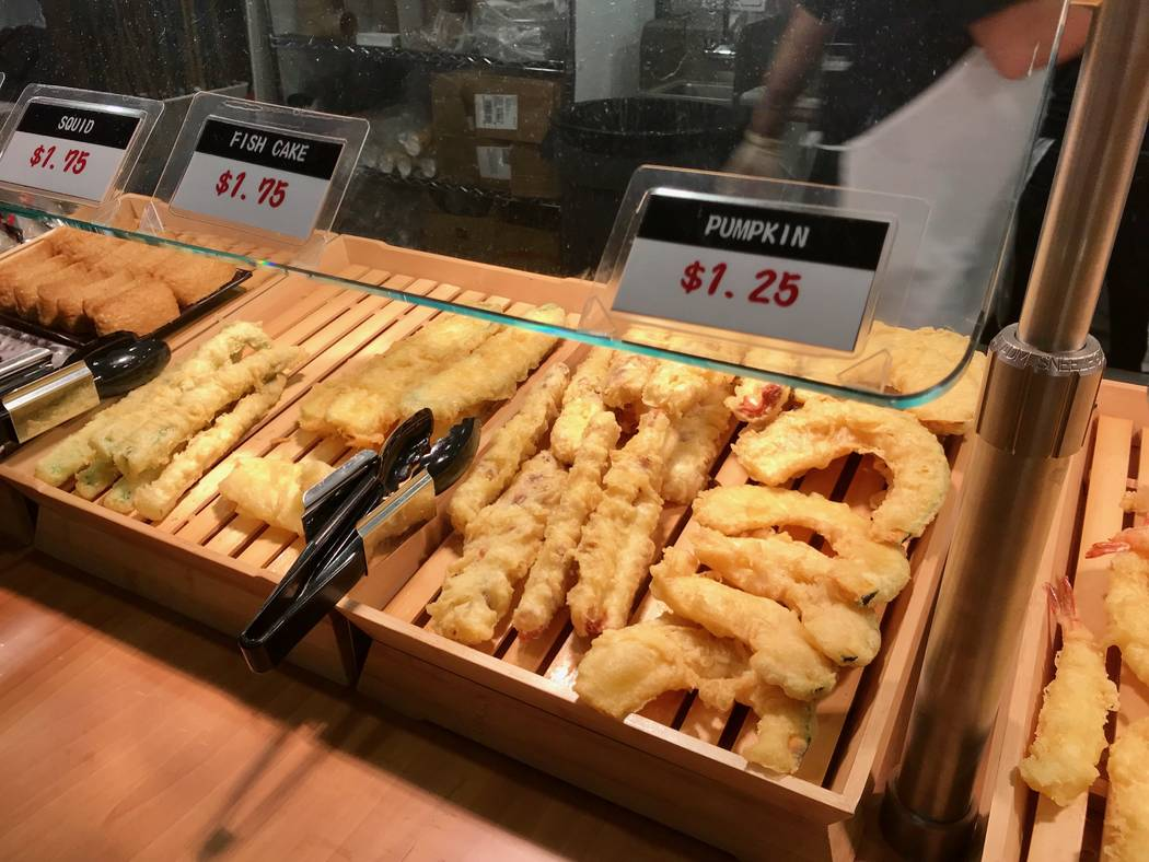 Self-serve tempura at Cafe Sanuki noodle bar in Las Vegas, Wednesday, Nov. 15, 2017. Madelyn Reese View @MadelynGReese