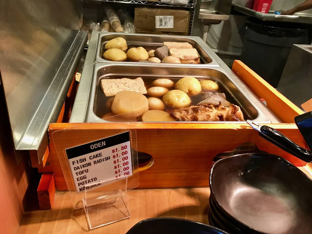 Self-serve oden items sit near the register at Cafe Sanuki noodle bar in Las Vegas, Wednesday, Nov. 15, 2017. Madelyn Reese View @MadelynGReese