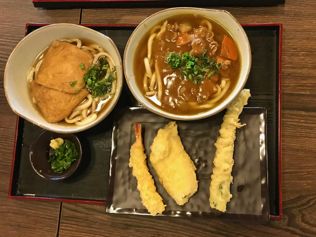 Kitsune udon($6..45), left, and beef curry udon ($6.80), right, at Cafe Sanuki noodle bar in Las Vegas, Wednesday, Nov. 15, 2017. Madelyn Reese View @MadelynGReese