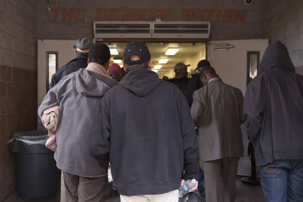People like up for a shelter intake at Catholic Charities of Southern Nevada in Las Vegas, Friday, Nov. 17, 2017. Bridget Bennett Las Vegas Review-Journal @BridgetKBennett