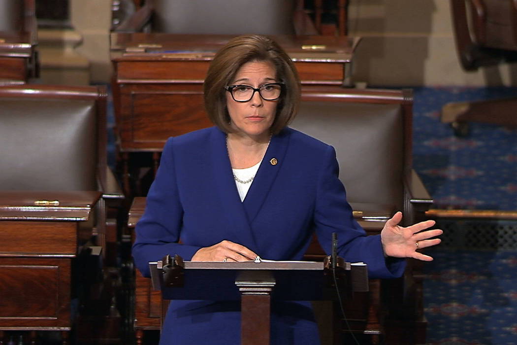 In this image from video from Senate Television, Sen. Catherine Cortez Masto, D-Nev., speaks on the floor of the U.S. Senate Wednesday, Oct. 18, 2017, on Capitol Hill in Washington. (Senate Televi ...
