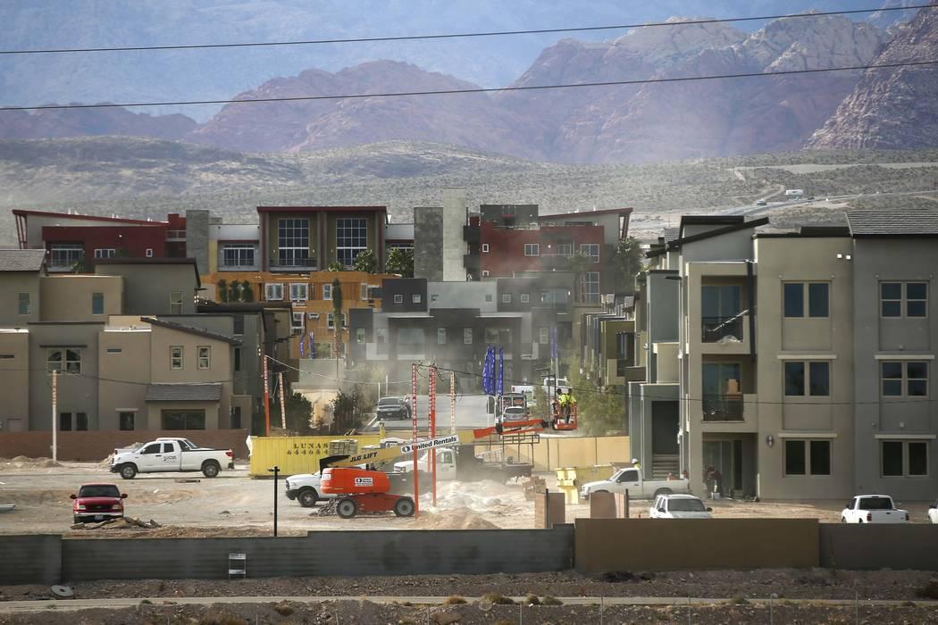 Construction goes on in the Affinity housing development the Summerlin area of Las Vegas on Thursday, Nov. 16, 2017. Chase Stevens Las Vegas Review-Journal @csstevensphoto