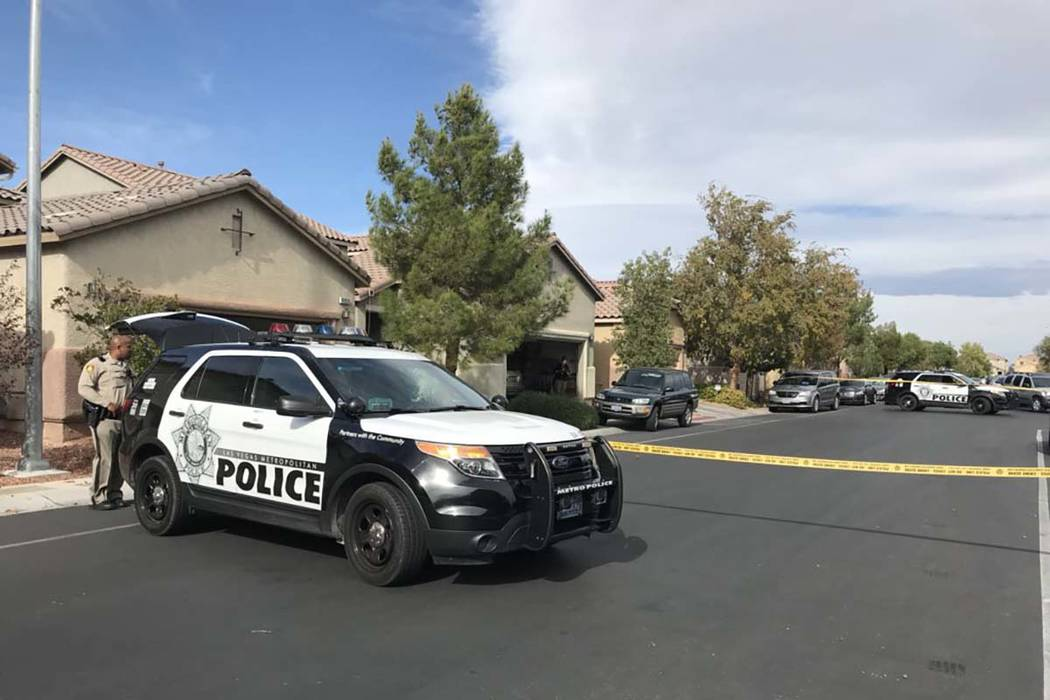 Las Vegas police are investigating after a woman died after being shot in the 9000 block of College Green Street, near Durango Drive and Blue Diamond Road, Thursday, Nov. 16, 2017. ( ...