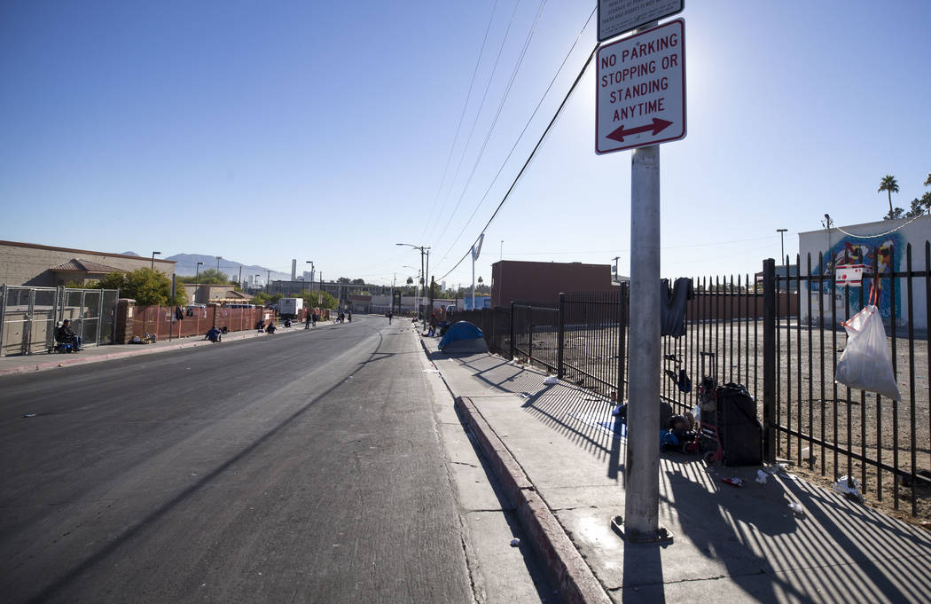 A view looking east down Foremaster Lane between Las Vegas Boulevard and Main Street in Las Vegas, Wednesday, Nov. 22, 2017. Richard Brian Las Vegas Review-Journal @vegasphotograph