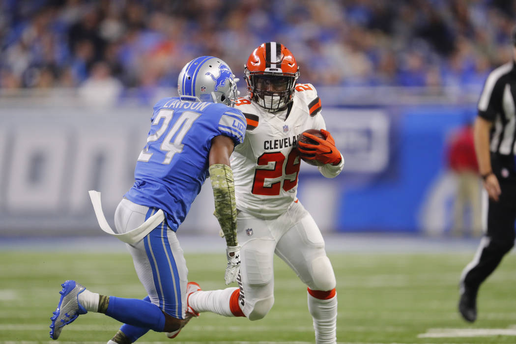 Cleveland Browns running back Duke Johnson (29) runs against the Detroit Lions during an NFL football game in Detroit, Sunday, Nov. 12, 2017. (AP Photo/Paul Sancya)