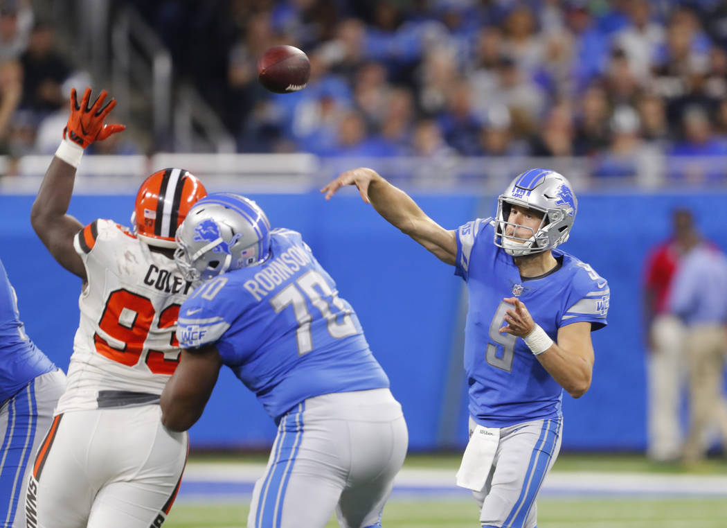 Detroit Lions quarterback Matthew Stafford (9) throws against the Cleveland Browns during an NFL football game in Detroit, Sunday, Nov. 12, 2017. (AP Photo/Paul Sancya)