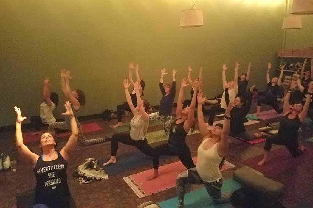 Joyce Bosen, left, trains yoga instructors in Trauma Recovery Yoga, or T.R.Y., at Tru Yoga Las Vegas on Nov. 3, 2017. Photo courtesy of Bosen.