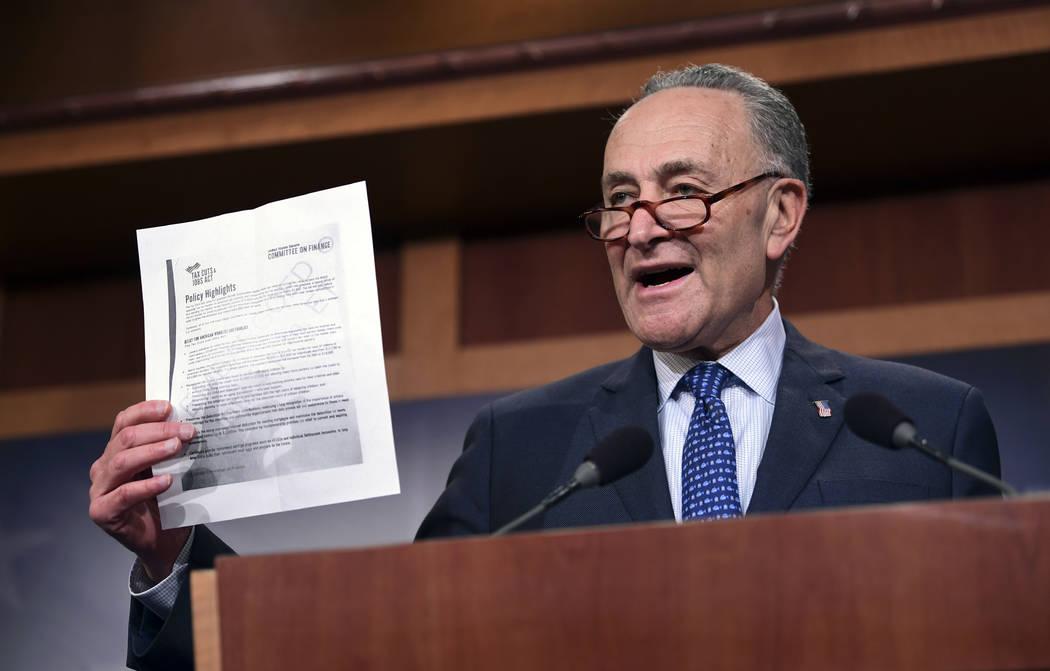 Senate Minority Leader Sen. Chuck Schumer of N.Y., speaks on Capitol Hill in Washington, Thursday, Nov. 9, 2017, about the Republican tax reform plan. (AP Photo/Susan Walsh)