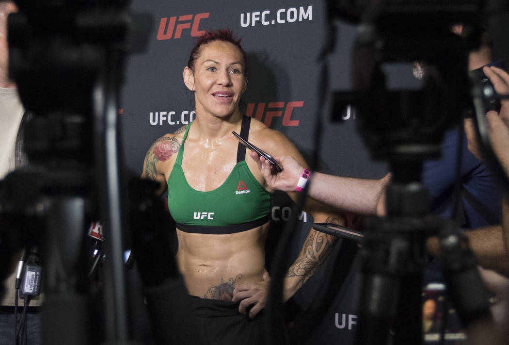 "Cris ""Cyborg"" Justino answers media questions at the UFC Gym in La Mirada, California on Thursday, July 27, 2017. Heidi Fang Las Vegas Review-Journal @HeidiFang"