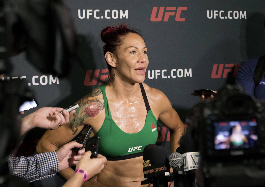 "Cris ""Cyborg"" Justino answers media questions at the UFC Gym in La Mirada, Calif., on Thursday, July 27, 2017. Heidi Fang Las Vegas Review-Journal @HeidiFang"