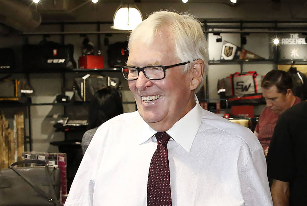 Vegas Golden Knights owner Bill Foley visits his team's store after the grand opening ceremony of City National Arena on Monday, Sept. 18, 2017, in Las Vegas. Bizuayehu Tesfaye Las Vegas Review-Jo ...