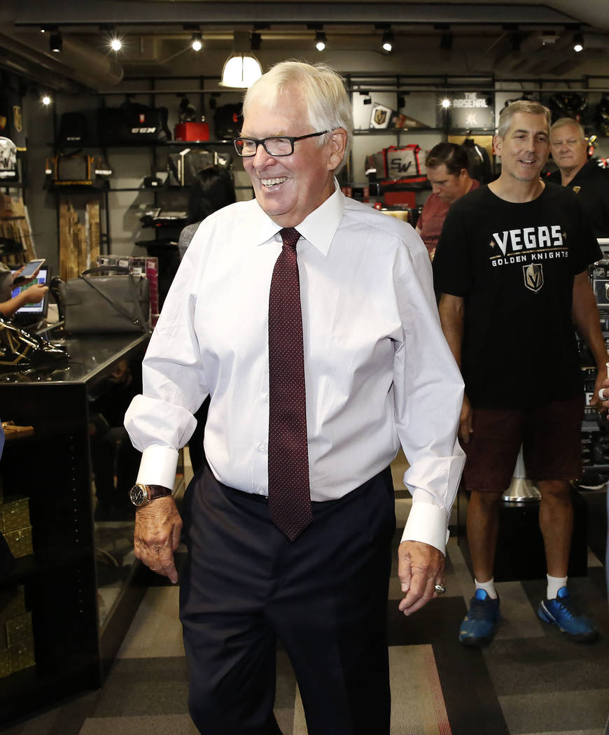 Vegas Golden Knights owner Bill Foley visits team's store after the grand opening ceremony of City National Arena on Monday, Sept. 18, 2017, in Las Vegas. Bizuayehu Tesfaye Las Vegas Review-Journa ...