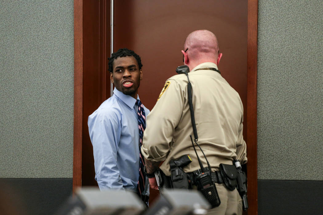 Bryan Clay is escorted outside of the courtroom during recess of his death penalty trial at the Regional Justice Center in Las Vegas, Thursday, Nov. 2, 2017. Joel Angel Juarez Las Vegas Review-Jou ...