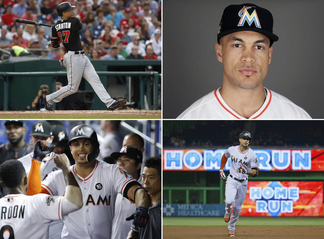 Clockwise from top left are 2017 file photos showing: Miami Marlins' Giancarlo Stanton hitting a two-run home run during the third inning against the Washington Nationals in Washington; Giancarlo  ...