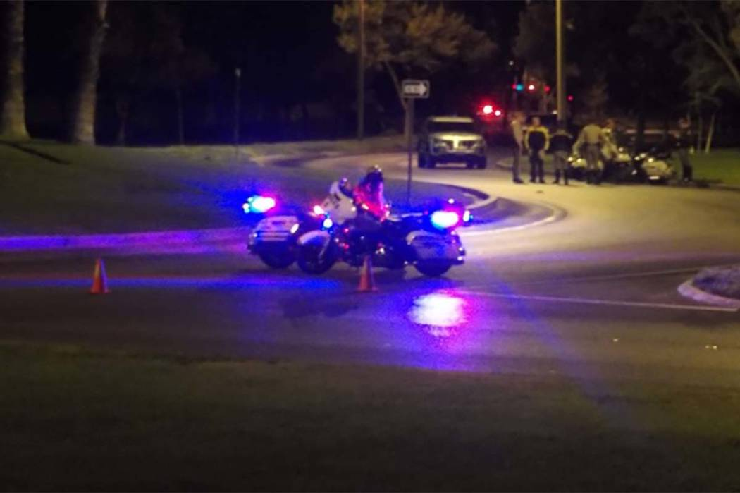 Las Vegas police are investigating a deadly accident that took place late Wednesday night in Summerlin on Hills Center Drive. (Max Michor/Las Vegas Review-Journal)