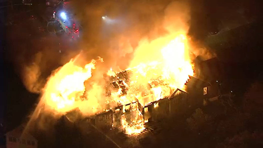 In this image taken from video provided by WPVI-TV, a massive fire burns at the Barclay Friends Senior Living Community in West Chester, Pa., Thursday, Nov. 16, 2017. The fire quickly spread to mu ...