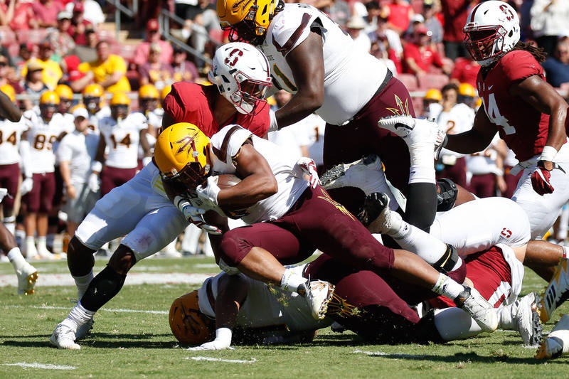 Sep 30, 2017; Stanford, CA, USA; Arizona State Sun Devils running back Demario Richard (4) runs against the Stanford Cardinal during the second quarter at Stanford Stadium. Mandatory Credit: Stan  ...