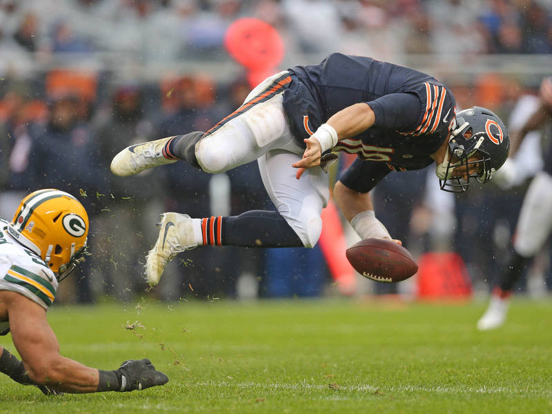 Nov 12, 2017; Chicago, IL, USA; Chicago Bears quarterback Mitchell Trubisky (10) is sacked by Green Bay Packers outside linebacker Nick Perry (53) during the second half at Soldier Field. Mandator ...