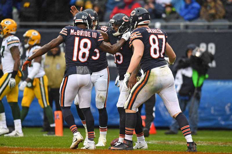 Nov 12, 2017; Chicago, IL, USA; Chicago Bears wide receiver Joshua Bellamy (second from right) celebrates his touchdown with teammates against the Green Bay Packers during the second half at Soldi ...
