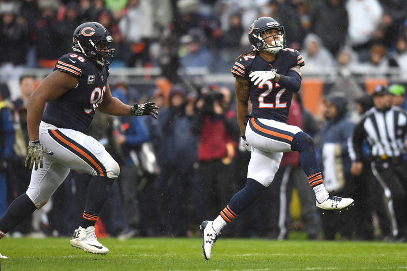 Nov 12, 2017; Chicago, IL, USA; Chicago Bears defensive back Cre'von LeBlanc (22) celebrates after sacking Green Bay Packers quarterback Brett Hundley (not pictured) during the first half at Soldi ...