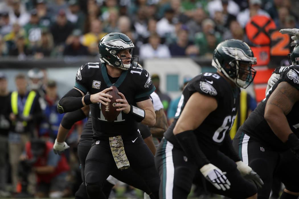 Philadelphia Eagles' Carson Wentz (11) in action during an NFL football game against the Denver Broncos, Sunday, Nov. 5, 2017, in Philadelphia. (AP Photo/Matt Rourke)