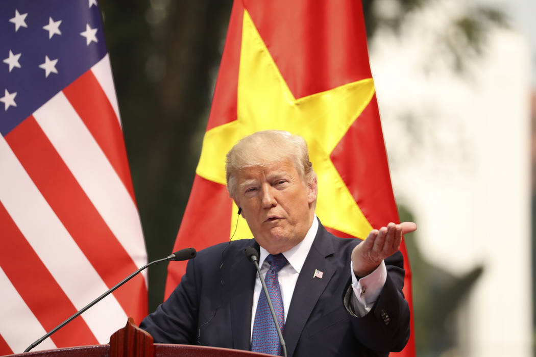 President Donald Trump speaks during a news conference at the Presidential Palace, Sunday, Nov. 12, 2017, in Hanoi, Vietnam. Trump is on a five country trip through Asia traveling to Japan, South  ...