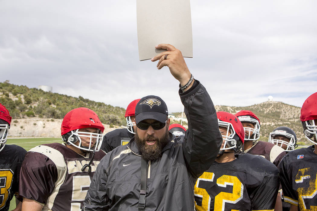 Head coach Aaron Masden works with players at Spring Mountain Youth Camp on Tuesday, Aug. 29, 2017. Bridget Bennett Las Vegas Review-Journal @bridgetkbennett