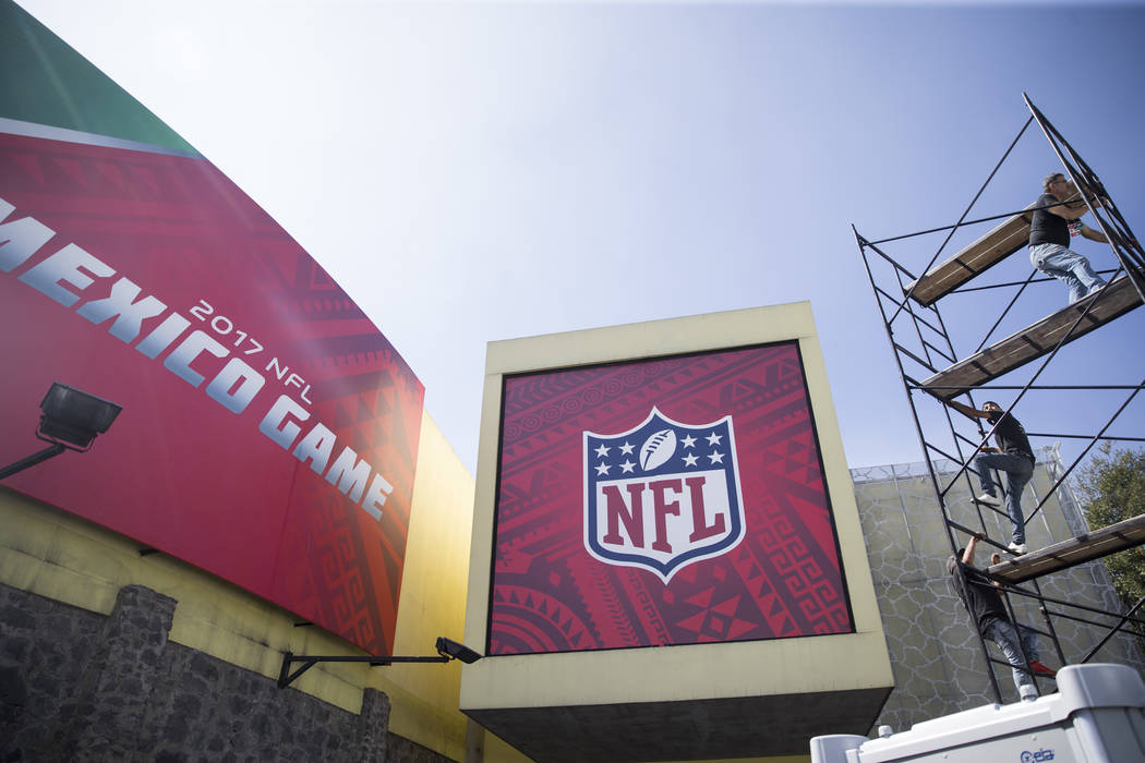 An NFL store outside of Estadio Azteca, in Mexico City, Mexico, where the Raiders and Patriots are scheduled to play on Nov. 19 in a regular season NFL football game, Friday, Nov. 17, 2017. Erik V ...