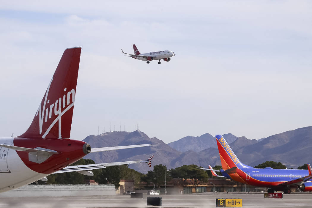 Air traffic at McCarran International Airport in Las Vegas, Monday, Nov. 20, 2017. Richard Brian Las Vegas Review-Journal @vegasphotograph