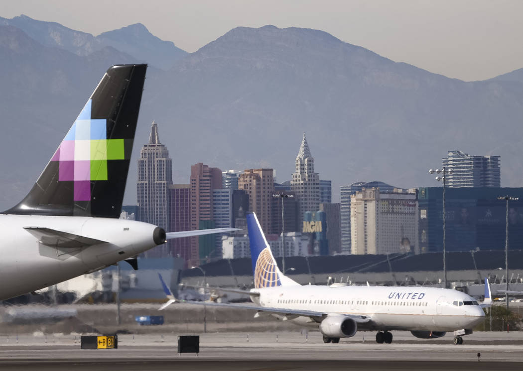 Planes taxi to the runway at McCarran International Airport in Las Vegas, Monday, Nov. 20, 2017. Richard Brian Las Vegas Review-Journal @vegasphotograph