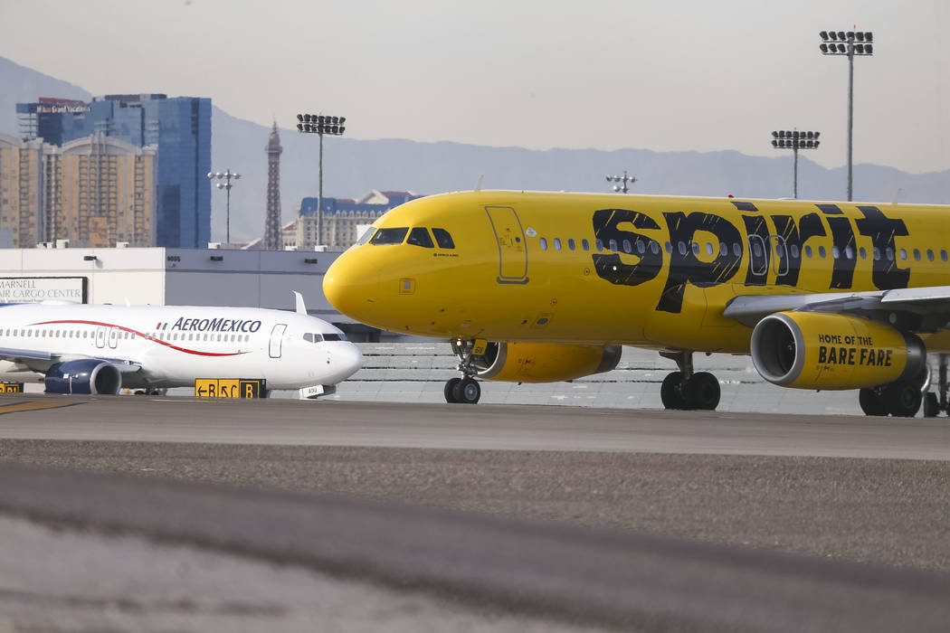 Jetliners belonging to Spirit Airlines and AeroMexico taxi to the runway at McCarran International Airport in Las Vegas, Monday, Nov. 20, 2017. Richard Brian Las Vegas Review-Journal @vegasphotograph