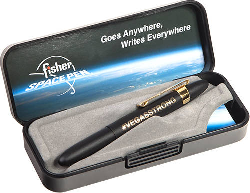 Boulder City-based Fisher Space Pen created a special VegasStrong design to help victims of the Oct. 1 Route 91 Harvest music festival shooting in Las Vegas. Proceeds from sales of the pen will be ...