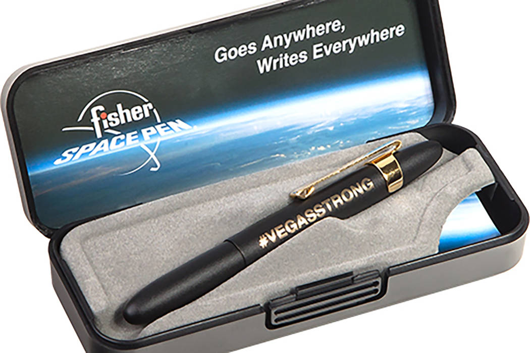 Boulder City-based Fisher Space Pen created a special VegasStrong design to help victims of the Oct. 1, 2017, Route 91 Harvest music festival shooting in Las Vegas. Proceeds from sales of the pen  ...