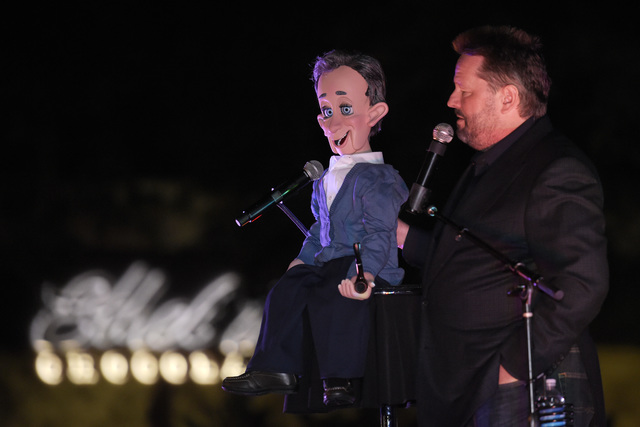 The Mirage headliner Terry Fator performs during the annual cactus lighting ceremony at Ethel M Chocolates on Tuesday, Nov. 15, 2016, in Henderson. (Sam Morris/Las Vegas News Bureau)