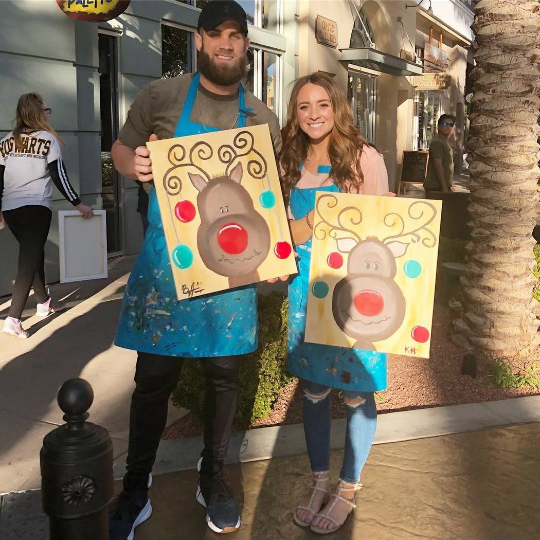 Washington Nationals slugger Bryce Harper and his wife, Kayla Harper, are shown at Pinot's Palette at The District  at Green Valley Ranch on Sunday, Nov. 12, 2017 (The Ferraro Group)