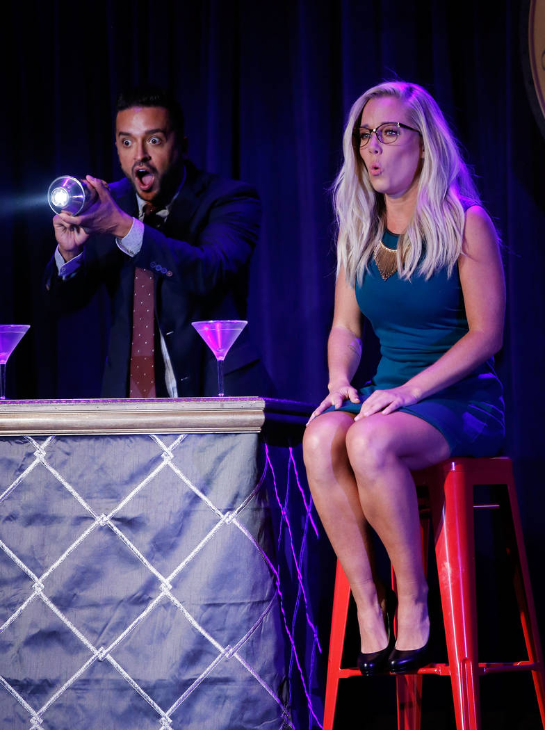 """LAS VEGAS, NV - JUNE 08:  Jai Rodriguez (L) and Kendra Wilkinson perfrom during """"Sex Tips for Straight Women from a Gay Man"""" on June 8, 2017 in Las Vegas, Nevada.  (Photo by Isaa ..."""