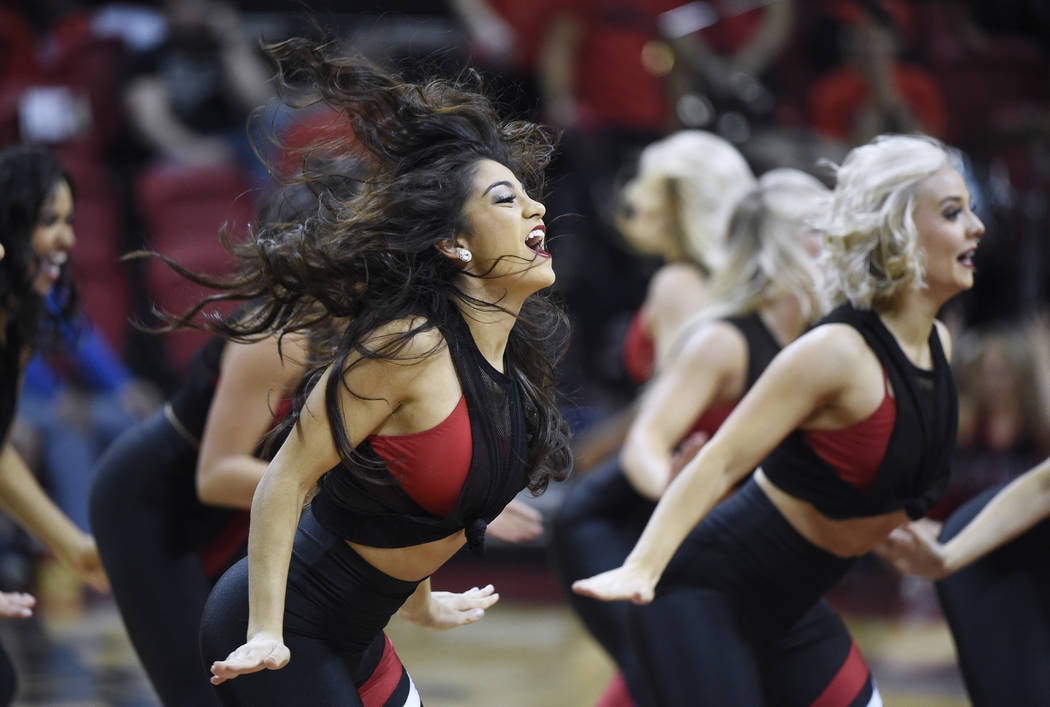 The UNLV dance team performs during their game against the Eastern Washington Eagles Friday, November 17, 2017, at the Thomas & Mack Center. UNLV won the game 91-76. CREDIT: Sam Morris/Las Veg ...
