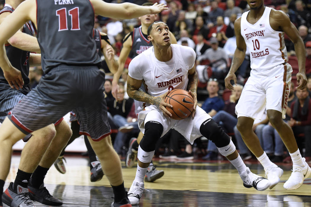 UNLV Rebels forward Anthony Smith (2) gets set to drive to the basket against the Eastern Washington Eagles during their game Friday, November 17, 2017, at the Thomas & Mack Center. UNLV won t ...