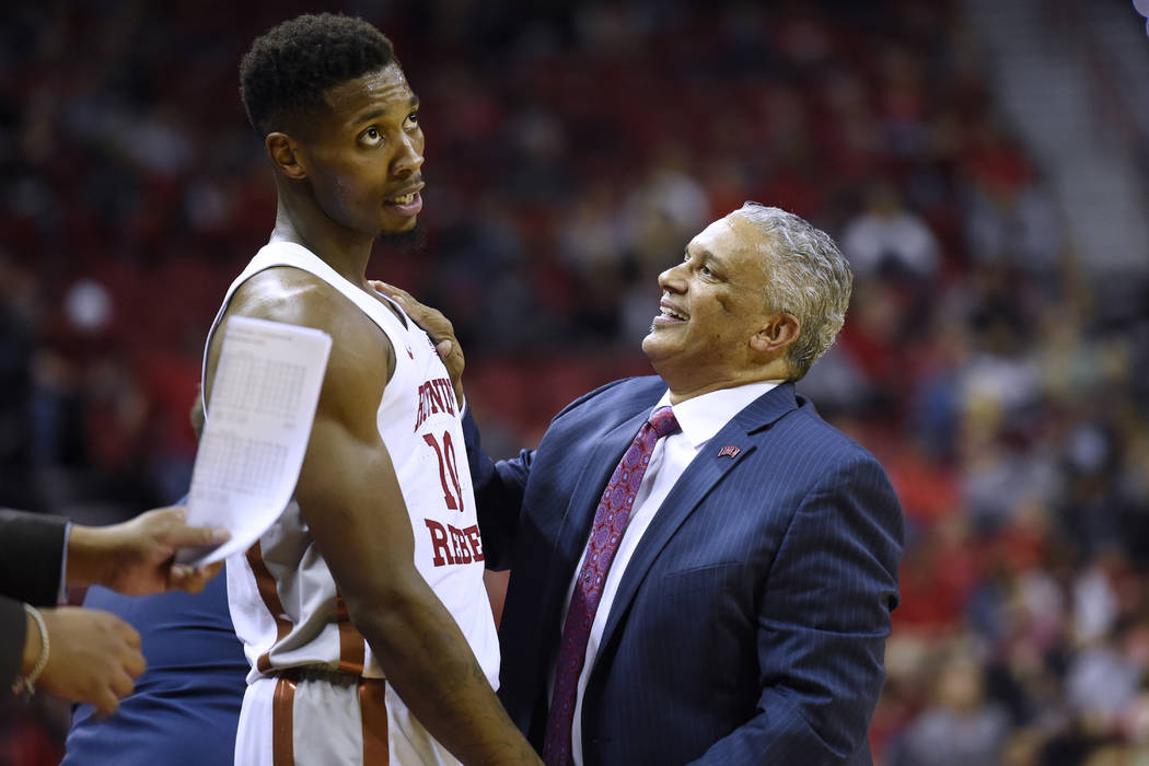 UNLV Rebels head coach Marvin Menzes talks with UNLV Rebels forward Shakur Juiston (10) during their game against the Eastern Washington Eagles Friday, November 17, 2017, at the Thomas & Mack  ...