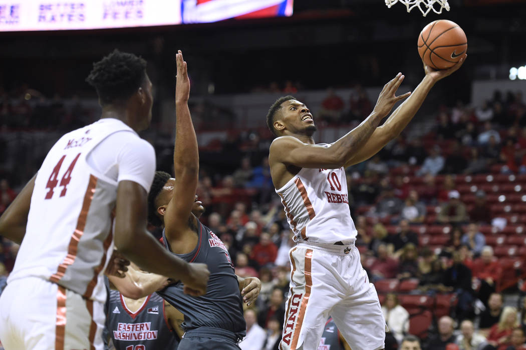 UNLV Rebels forward Shakur Juiston (10) drives to the basket against the Eastern Washington Eagles during their game Friday, November 17, 2017, at the Thomas & Mack Center. UNLV won the game 9 ...